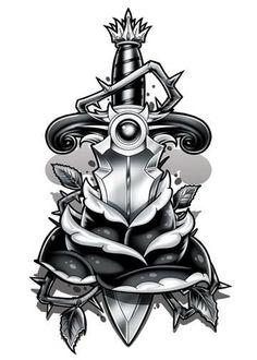 Black and Grey Rose Dagger Temporary Tattoo