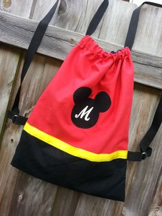 Personalized Disney Red Mickey Mouse Inspired Drawstring Backpack Purse via Etsy