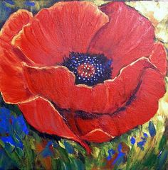 Poppy Flower Painting, Flower Art, Colorful Abstract Art, Simple Art, Red Poppies, Box Art, Art Day, Canvas Art, Thistles