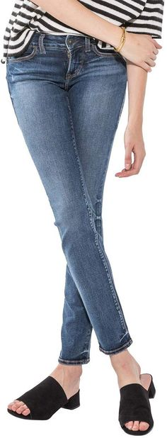 New Silver Jeans Co Women's Suki Curvy Fit Mid Rise Straight Leg Jeans , Medium Indigo Wash, online - Liketopclothing Two Piece Homecoming Dress, Low Rise Skinny Jeans, Calvin Klein Women, Silver Jeans, Curvy Fit, Slim Legs, Active Wear For Women, Clothes For Women, Womens Fashion