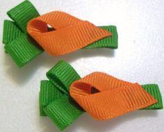 Orange carrots set of 2 grosgrain ribbon art sculpture clippie