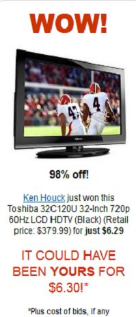 Toshiba 32-Inch LCD HDTV for $6.29 Wow