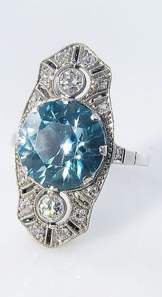 Art Deco Blue Zircon & Diamond Ring