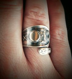 Sterling Silver Spoon Ring, Petite silver Ring, Antique Weidlich Silver, Garland…