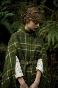 green plaid cape coat