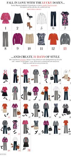 Create a better and more flexible wardrobe of less is more -- 12 items of clothing and 31 outfits...