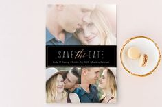 """For three picture front  """"Opulent"""" - Classical, Formal Save The Date Cards in Midnight by Jessica Williams."""