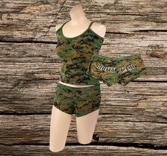 """""""Booty Camp"""" lettering on the rear and waistband Elastic waistband Material: Cotton/Spandex blend Matching tank top also available was last modified: June 2019 Camp Letters, Camo Lingerie, Lingerie Collection, Boy Shorts, Cotton Spandex, Bodysuit, Rompers, Booty, Legs"""