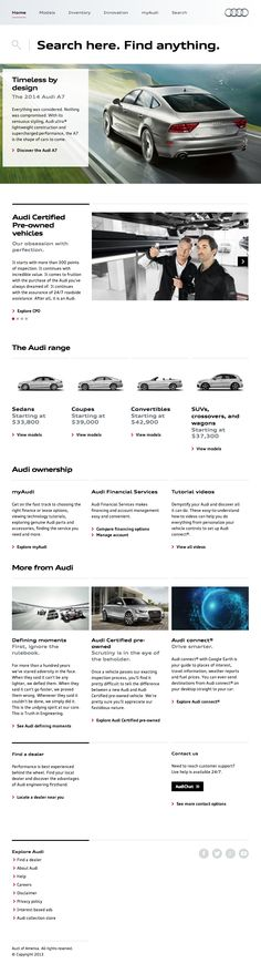 Nice clean website for Audi USA by AKQA
