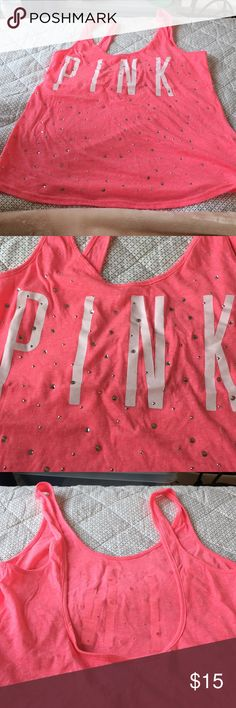 Perfect condition VS Pink scoop back tank Adorable VS pink tank with rhinestones PINK Victoria's Secret Tops Tank Tops
