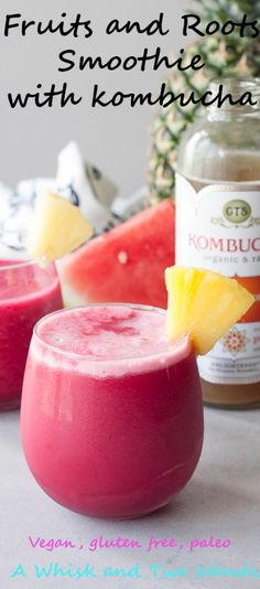 This Fruits and Roots Smoothie is a delicious refreshing hydrating smoothie that hits the spot! Add kombucha for a delicious healthy mocktail. Best Smoothie Recipes, Yummy Smoothies, Healthy Recipes, Smothie, Protein Shakes, Vegan Friendly, Beets, Dressings, Wands