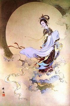 File:The Moon Goddess of Chang'e (Shi Yu).jpg getting ready for Moon Festival (Mid-Autumn Festival) September 19 Chang'e; Chinese Painting, Chinese Art, Chinese Brush, Autumn Moon Festival, Art Magique, Art Chinois, Chinese Mythology, Greek Mythology, Art Asiatique