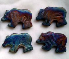 Raku Clay Bear Focal Beads set of 4 by spinningstarstudio on Etsy, $10.00