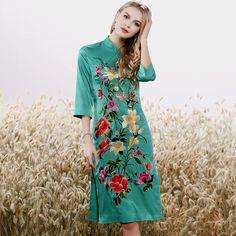 cfa613edfd70a Women s floral Qipao dress spring and summer black vintage embroidery plus  size elegant slim lady midi cheongsam dress S-XXXL
