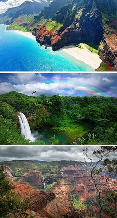 """The Ultimate Guide to all of the Hawaiian Islands! Kauai – This island is known as the """"Garden Isle"""" for its lush vegetation and beautiful hikes that take you to hidden waterfalls. Dramatic cliffs on the Na Pali Coast are a must see! City ordinances prohibit construction of any building higher than a coconut tree, so views are never obstructed. Click through to read the full post!"""