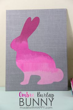 Ombre Burlap Bunny | Easter Decor | Pink Bunny | www.madewithHAPPY.com