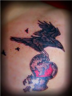 crow broken heart 25 Exceptional Broken Heart Tattoos