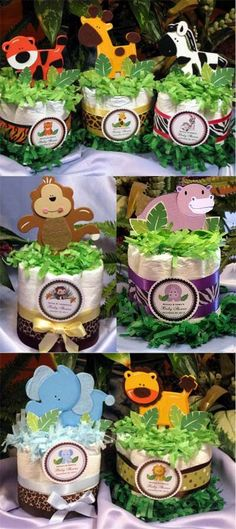 If you are having a jungle baby shower theme these are cute centerpieces for your tables. For more jungle/safari baby shower ideas go to: www.modern-baby-s. Idee Baby Shower, Mesas Para Baby Shower, Fiesta Baby Shower, Shower Bebe, Baby Shower Diapers, Baby Boy Shower, Baby Shower Gifts, Baby Gifts, Baby Shower Safari