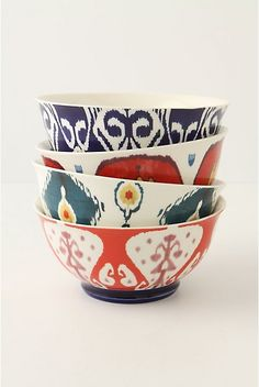 """Anthropologie Loomed Bowl. Brightly hued ceramic appears to be woven rather than glazed.  New bone china.  Hand wash.  23.3 oz.  3""""H, 6.25"""" diameter.  #073577  $14.00  http://www.anthropologie.com/anthro/catalog/productdetail.jsp?id=073577&catId=HOME-TABLETOP-DINNERWARE&pushId=HOME-TABLETOP-DINNERWARE&popId=HOME&navAction=top&navCount=2148&color=072&isProduct=true&fromCategoryPage=true&subCategoryId=HOME-DINNER-BOWLS"""