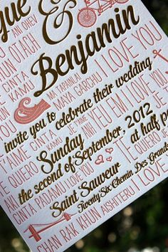 Oh So Beautiful Paper: Veronique + Benjamin's Multilingual Coral and Gold Foil Wedding Invitations