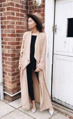 nude maxi duster coat + black.