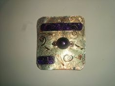 Metal Sheet Purple and Copper Bead and Spirals Pendant Charm