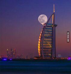 The super moon over Dubai.