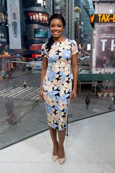 Pin for Later: Confidence Is Key For This Week's Best Dressed Gabrielle Union Gabrielle's floral Suno dress has us longing for Spring. Luckily, you can prep ahead of time — it's available at Saks for $650.