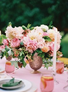 Pink and green centerpiece via Hey Gorgeous Events | #blushwedding