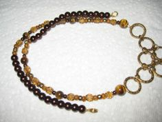 Gold Rings,Deep Brown Pearls, Med. Smoke Topaz,Tigers Eye,Mix of Brown,Gold Crystals