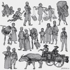 More #Sketches for some background characters of my comic book. #JamesNgArt #Sketchbook