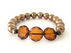 Beaded stretch bracelets / handmade bracelets / by RockAndHardware,
