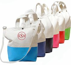 Color Dipped Monogrammed Canvas Tote Bag. grad gift please!