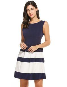 Women O-Neck Sleeveless Striped Slim Fit Tank Mini Casual Dresses
