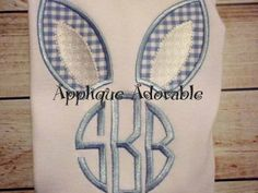 Perfect for Easter Girl or Boy Bunny Ear Monogram Applique Shirt by AppliqueAdorable Monogram Machine, Embroidery Monogram, Embroidery Applique, Embroidery Patterns, Machine Applique Designs, Applique Ideas, Sewing Appliques, Diy Sewing Projects, Sewing Rooms