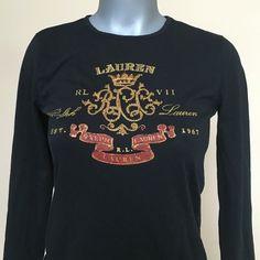 Ralph Lauren Black Beaded Long Sleeve Shirt Never worn nor used. 100% cotton. NWOT. No pilling. Ralph Lauren Tops Tees - Long Sleeve