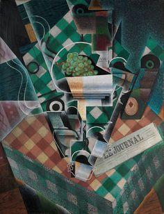 Juan Gris, 1915, Nature morte à la nappe à carreaux (Still Life with Checked Tablecloth), oil on canvas, 116.5 x 89.3 cm - Cubisme — Wikipédia