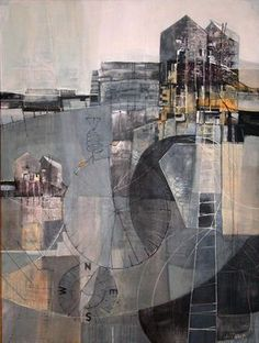 Jill ehlert ladder series - acrylic and mixed media on canvas collage and m Collage Kunst, Canvas Collage, Collage Art Mixed Media, Mixed Media Canvas, Tree Collage, Mixed Media Painting, Landscape Artwork, Urban Landscape, Abstract Landscape