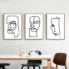 Abstract Face Print Set Of Three Wall Art Black And White Concept Art Digital Prints Line Drawing Minimal Poster Creative Art Conceptual Art : Abstract Modern Art Minimal Line Art Set of 3 Prints Face Art Conceptual, Art Halloween, Abstract Face Art, Line Artwork, Minimal Poster, Art Moderne, Black Decor, Minimalist Art, Line Drawing