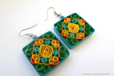 Quilled earrings square earrings  paper quilling by PaperDreamland