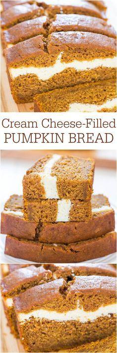 Cream Cheese-Filled Pumpkin Bread - Pumpkin bread that's like having cheesecake…