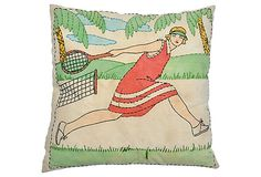 1930s crewel tennis pillow in greens and reds with matching cotton back. Sewn shut.