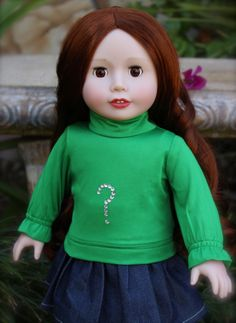 Harmony Club Dolls 18 inch doll Kendall with chestnut red hair and brown eyes in St Patrick's Day Green. Same size as 18 inch American Girl Dolls Shop http:///www.harmonyclubdolls.com