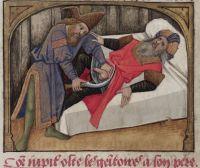 Castration of Saturn, MS Douce 195  Guillaume de Lorris & Jean de Meung, Roman de la Rose. France, 15th century (end).  Bodleian Library, MS. Douce 195, fol. 76v