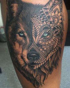 Did This Wolf with zentagle pattern Yesterday. 🎀🎀#nofilter #wolftattoo #wolfzentangle #zentangle #zentangletattoo #femaletattooartist #aarhus #like4like #follow4follow #denmark #girlswithink #thightattoo #feminetattoo