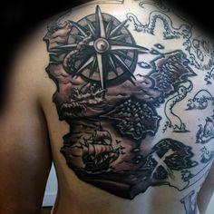 Nautical Kraken Map Back Tattoos For Guys