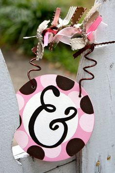 Personalized Wood Door Hanger / Ornament  Pink Brown by Initialee, $12.00