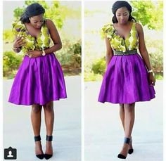 Purple and green African attire