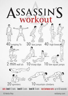 Assassins workout, good work out with a cute nerdie name. I'd feel like batman in training doing this...lol