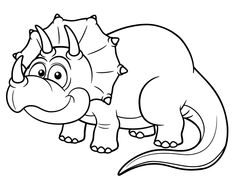 Illustration of Vector illustration of Cartoon dinosaur - Coloring book vector art, clipart and stock vectors. Easy Coloring Pages, Animal Coloring Pages, Free Printable Coloring Pages, Coloring Books, Easy Dinosaur Drawing, Dinosaur Coloring Sheets, Art Books For Kids, Marvel Coloring, Free Adult Coloring